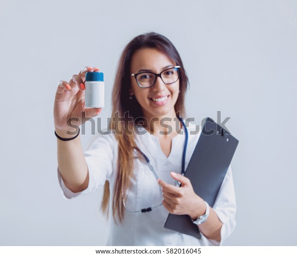 Doctor on white background. Nursing staff