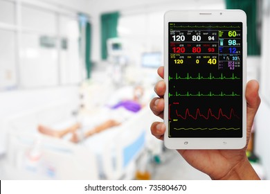 Doctor online checking patient monitor by use Tablet and wifi technology in intensive care unit (ICU), Tablet telehealth concept, remote medical doctor monitoring
