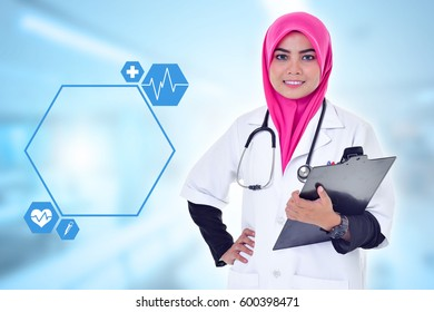 Doctor over blue clinic background. Medical and Healthcare Concept.
