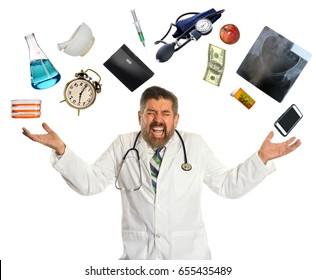 Doctor overwhelmed by multitasking isolated over white background