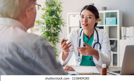 Doctor and patient are discussing at clinic