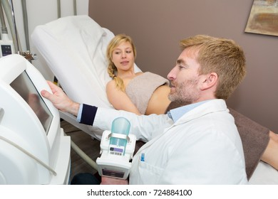 doctor and patient in gynecological cabinet