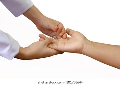 doctor or physical therapist giving hand exercise  for rehabilitation