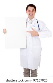 Doctor with placard