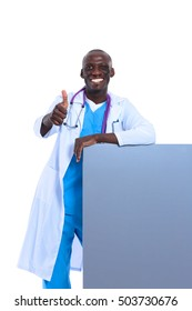 Doctor with placard showing ok