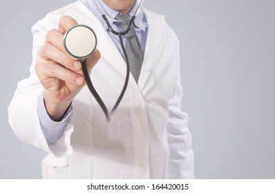 doctor point stethoscope and make diagnosis