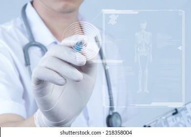 Doctor pointing pen toward screen