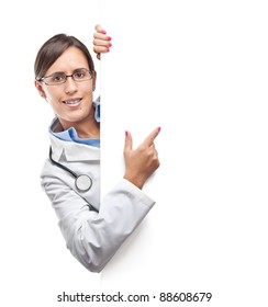 Doctor is pointing something in a blank cardboard sign