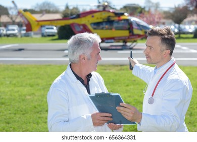 doctor is preparing in the helicopter emergency medical service