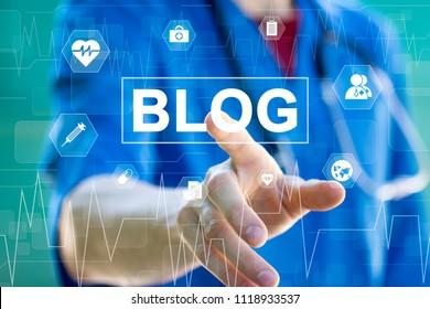 Doctor pressing button blog healthcare on virtual online panel medicine