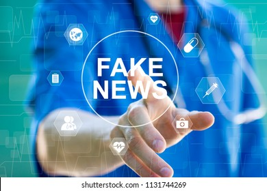 Doctor pressing button Fake News in healthcare on virtual panel medicine