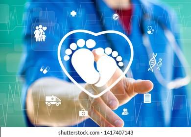 Doctor pressing button heart baby healthcare on virtual panel medicine. Health baby heart icon concept.