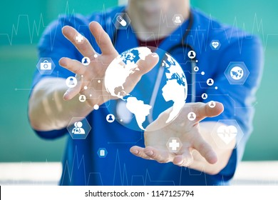Doctor pressing button map network healthcare on virtual panel medicine health.