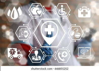 Doctor pressing location plus button on virtual screen. Hospital place health care concept. Medical clinic navigation. Medicine institution.