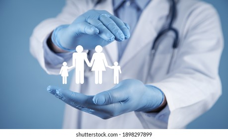 Doctor protect family icons. Family Insurance