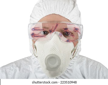 Doctor in protective suite looking at ebola isolated on a white background