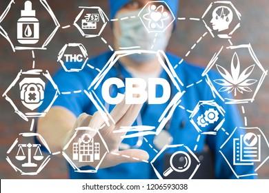Doctor push a CBD button on a virual screen. Cannabis Marijuana Cannabidiol Health Care Science concept.