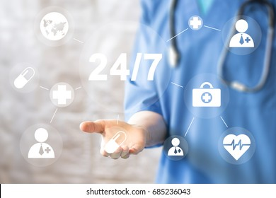 Doctor pushing button 24 hours service virtual healthcare network medicine