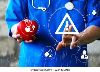 Doctor pushing button attention medicine network on virtual panel healthcare.