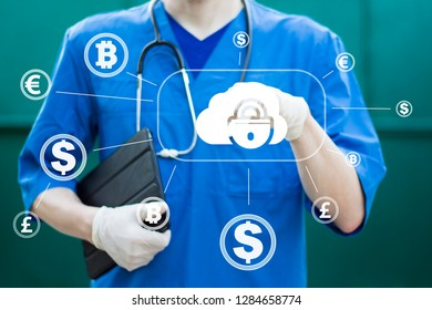 Doctor pushing button cloud lock security healthcare network on online virtual currency panel. Cloud computing and network security concept.