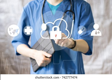 Doctor pushing button cloud lock security healthcare network on virtual panel management.
