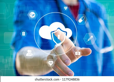 Doctor pushing button cloud security shield virus virtual heart pulse healthcare network.
