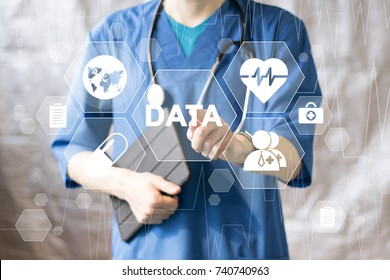 Doctor pushing button data service virtual healthcare in network medicine.
