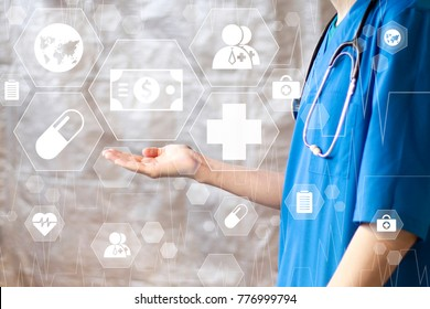 Doctor pushing button dollar virtual healthcare in network medicine