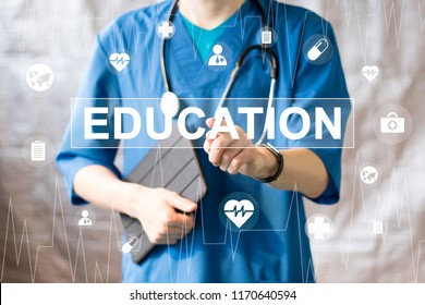 Doctor pushing button education healthcare network on virtual panel medicine.