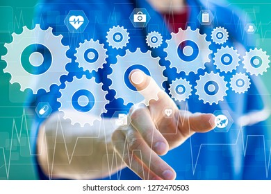 Doctor pushing button engineering healthcare network on internet panel medicine.
