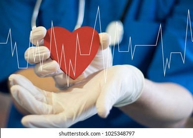Doctor pushing button heart pulse healthcare network on virtual internet panel medicine