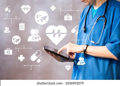 Doctor pushing button heart pulse healthcare in network on virtual panel medicine