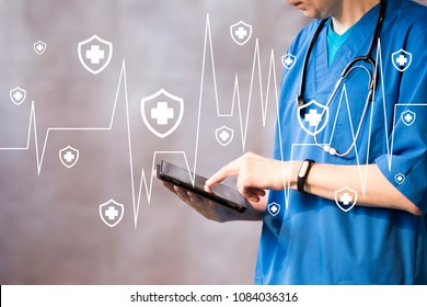 Doctor pushing button heart pulse security shield virus healthcare network on tablet virtual panel.