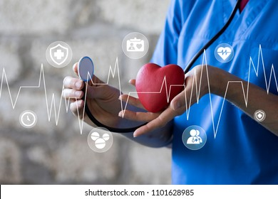 Doctor pushing button heart pulse healthcare network on internet panel medicine virtual panel.