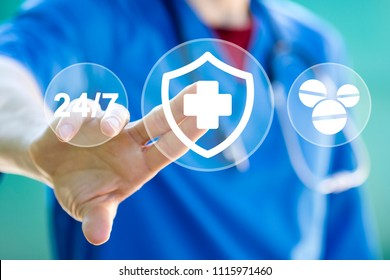 Doctor pushing button heart pulse security shield virus in healthcare network on virtual panel online