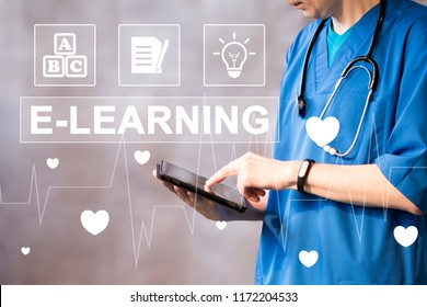 Doctor pushing button heart pulse E-Learning healthcare network on internet panel medicine.