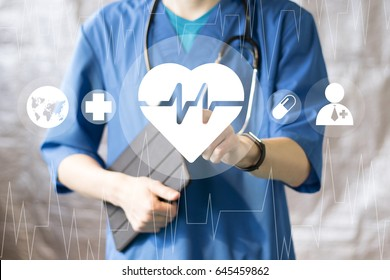 Doctor pushing button heart pulse virtual interface healthcare network