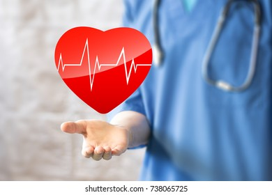 Doctor pushing button heart pulse virtual healthcare network on virtual panel icon.