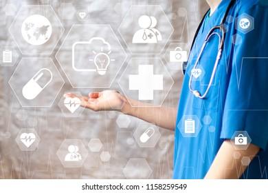 Doctor pushing button idea folder heart pulse virtual healthcare network on virtual panel sign.