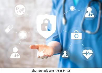 Doctor pushing button locked shield virus security virtual healthcare network medicine