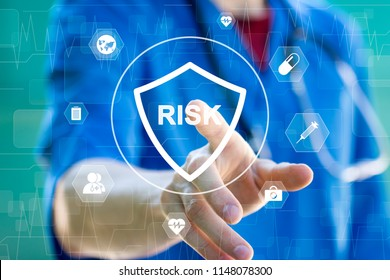 Doctor pushing button risk security shield virus heart pulse healthcare network on tablet virtual panel.