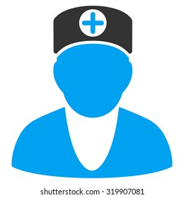 Doctor raster icon. Style is bicolor flat symbol, blue and gray colors, rounded angles, white background.