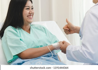 Doctor reassure to patient after surgery are success.