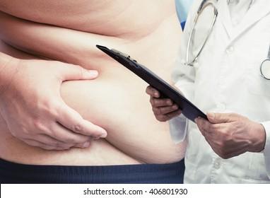 doctor report healthy fat man
