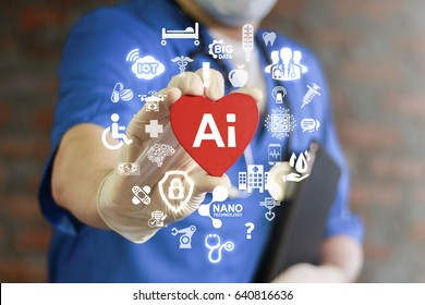 Doctor represent heart with AI icon on virtual screen. Futuristic medicine, world assistance and the future. Technological surgery on heart. Modern innovative information technology in health care.