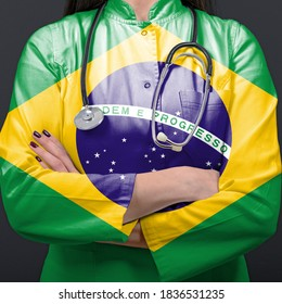 Doctor representing healthcare system with National flag of Brasil
