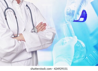 doctor research medical product at lab concept background