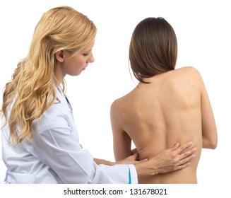 Doctor research patient spine scoliosis deformity backache isolated on a white background