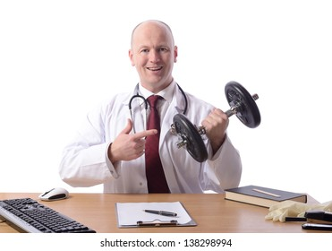 doctor sat at desk points to a weight prescribing exercise isolated on white