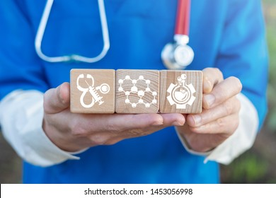 Doctor or scientist hold wooden blocks with hormone balance icons. Hormones healthcare science concept. Hormonal therapy medical innovative technology.